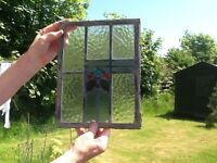 Lead glazed stained glass panels X2