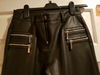 Womens faux leather trousers