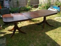 12 seater large wooden extendable table with decorative legs 244cm