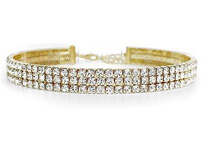 Gold Rhinestone Choker Necklace 3 Row Sparkling Crystal Diamond Elements