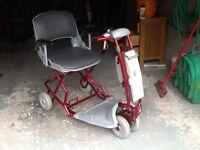 Tzora three wheel folding mobility scooter.
