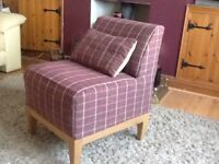 Small plum check occasional chair