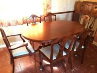 MAHOGANNY DINING TABLE AND CHAIRS - extends