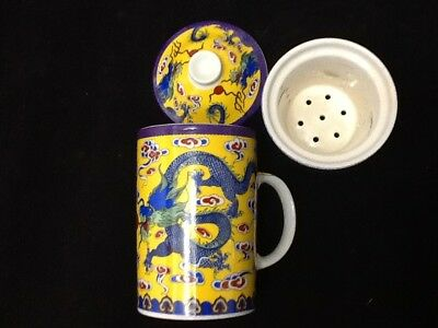 Chinese Porcelain Tea Cup Handled Infuser Strainer with Lid 10 oz  !