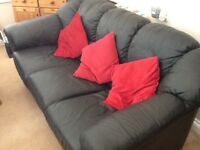 3 seater black leather settee ,