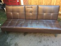 BROWN LEATHER EFFECT SOFA BED