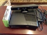 Xbox 360 S.kinect and 3 games