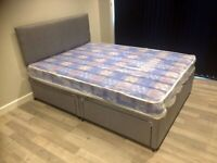 New Double Divan Bed Base with Headboard and Mattress ( optional )