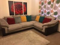 Large DFS corner sofa with stain guard protection and foam seats upgrade
