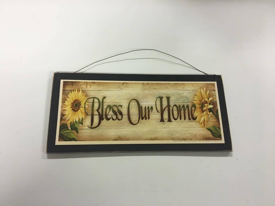 sunflowers Bless our Home country kitchen wooden wall art si