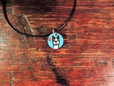 CUSTOM Folk Art Hand painted Boston Terrier Dog Necklace Pendant Personalized