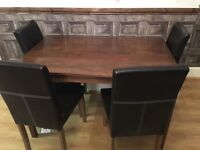 Solid wooden table and four chairs WILL ACCEPT SENSIBLE OFFER