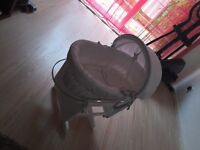 Clair de Lune white wicker moses basket and mother care glider