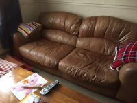 3 piece and 2 piece tan leather suite