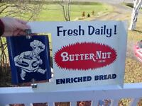 ANTIQUE EASTERN BAKERIES BUTTER NUT BREAD SIGNS, DOOR PUSHES ETC