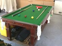Vintage Snooker Table with cues,snooker and pool balls