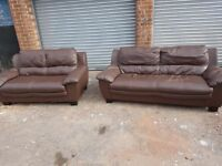 Lovely brown leather sofa suite ,3 and 2 seater sofas ,a bit of wear,can deliver