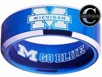 Michigan Wolverines Ring Mens Ring Logo Blue Wedding Band Sz 4 - 17  #michigan ()