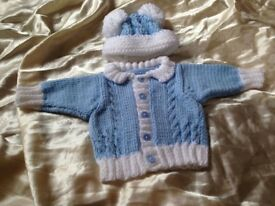 Hand knitted hat and cardigan set 0/6 m boys