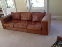 Beautiful custom-made 3 seater leather sofa bed