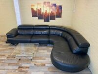 Luxurious Large Black Leather Corner Sofa