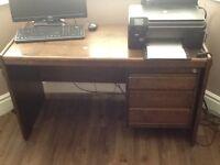 Walnut desk with three drawers