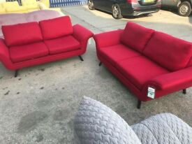 Fabric 2 x 2 seater sofas