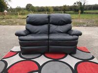 Black leather 2 seater recliner sofa