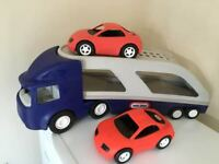 Little Tikes Car transporter and 2 cars £10 collection from Shepshed.