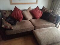 Excellent Condition leather/material Sofa , chair and foot stool