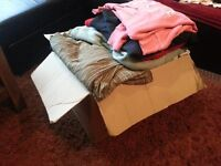 5 BOXES- CLOTHES - ALL SIZES,,, NEW AND USED VERY GOOD CONDITION