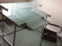 Glass Desk with black chair