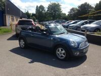 Blue mini one convertible in very good condition with low mileage