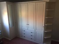 PERFECT CONDITION FITTED WARDROBES IN IVORY WITH SHELVING + 3 DRAWERS (FREE BEDSIDE AND CORNER UNIT)