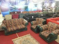 3 piece green leather and fabric suite