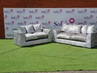2+3 Seater Chicago Crushed Velvet Sofa - Fast & Free 2 Man Delivery – Cash on Delivery