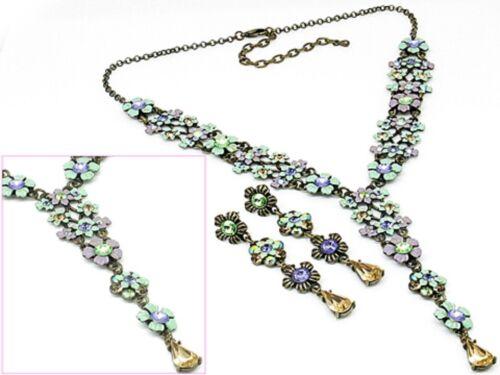 2v Vintage White Green & Purple Multi Swarovski Elements Crystal Floral Necklace