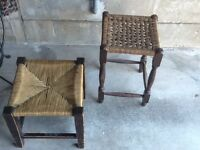 Woven topped Vintage stools!! Requiring a little TLC