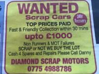 WANTED SCRAP CARS TOP PRICE PAID