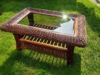 Chunky Wicker & glass coffee table