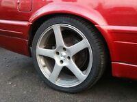 17 inch KAHN Alloy Wheels & Tyres (fit bmw e30,corsa,vauxhall,vw,golf,punto,civic,honda,clio,focus)