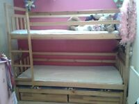 Bunk Bed with Trundle Bed and 2 x Storage Drawers