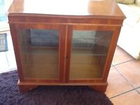 Yew wood small display cabinet