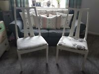Shabby Chic, waxed and Distressed Pair of Chairs