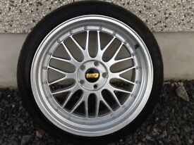 19INCH BY 9.5 - 5/100 BBS LM ALLOY WHEELS JUST HAD A COMPLETE REFURB WITH TYRES FIT VW SEAT AUDI ETC