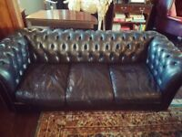 Chesterfield Black Leather Sofa and Tub Chair Delivery Available.