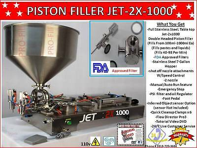 Piston Filler Double Head Jet-2x1000 Fills Liquidspastesscrubspeanut Butter
