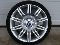 NEW 19INCH 5/120 BMW SPIDER ALLOY WHEELS WITH WIDER REAR RIMS AND PARTWORN TYRES,RIMS 8.5/19&9.5/19