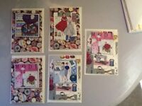 Hand made vintage cards. Bottoms bobbins and sewing machines.