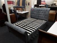 Grey fabric DOUBLE Chesterfield scroll bed frame LOW COST MOVES 2nd Hand Furniture STALYBRIDGE SK15